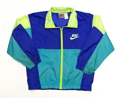 Vintage Nike Windbreaker Jacket Kids Youth S Small Gray Tag Multi-Color 80s 90s