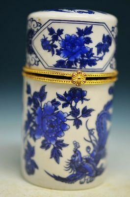 Exquisite Chinese Porcelain hand painted peony Toothpick box ha11