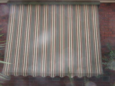 AWNING BLIND- STRIPED CANVAS, METAL CANOPY, SIDE SUPPORTS X 2, 2710w x 2000h ,3w