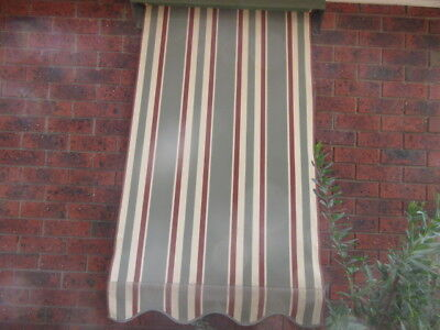 AWNING BLIND - STRIPED CANVAS, METAL CANOPY, SIDE SUPPORTS X 2 , 900w x1370H ,3w