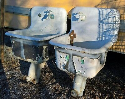 2 Mop Utility Sinks Antique High Back Cast Iron