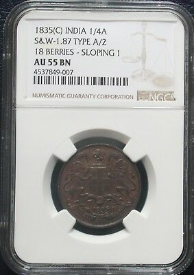 AU-55 NGC 1835 C India British Bronze 1/4 Anna About Uncirculated