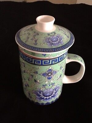 Chinese Porcelain Tea Coffee Cup Handled Infuser Strainer w Lid 10 oz
