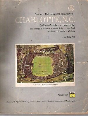 Southern Bell Telephone Directory For Charlotte, Nc August 1966