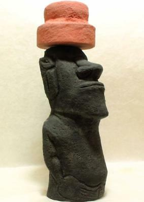 EASTER ISLAND MOAI stone statue with Pukao hat & authentic back carvings