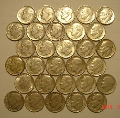 Lot of 30 Silver Roosevelt Dimes, circulated from 1940s, 1950s & 1960s old coins
