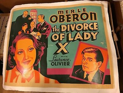 24x30 Original Poster Merle Oberon The Divorce of Lady X 1938 Linen Backed