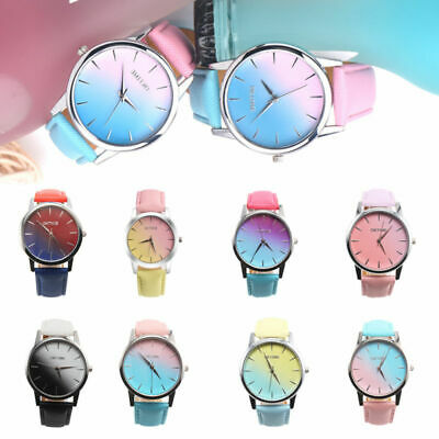 Fashion Ladies Women Two Colour Rainbow Band Ladies Analog Quartz Wrist Watch