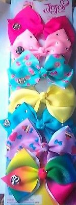 7 x JOJO COLOUR HAIR BOWS, Rainbow, School,  Ribbon, Bow, 10cm Wide, Pretty