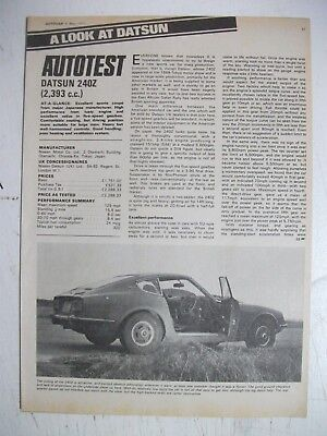 1971 Datsun 240Z 5 Page British Autocar Magazine Road Test Article