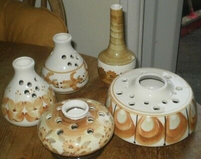 5 Pieces Of Jersey Pottery - Various Shaped Bud Vases