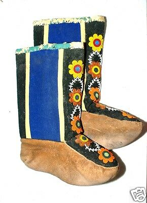 Unusual Early Antique Native American Canadian Cree Flowered Beaded Boots
