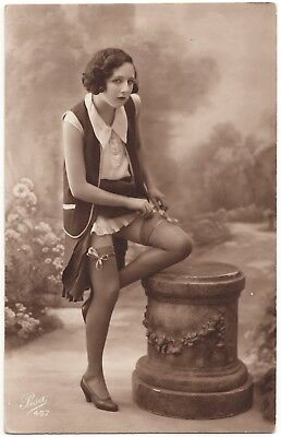 1910 Original French Real Photo PC Nude Voluptuous Girl Lingerie Stockings