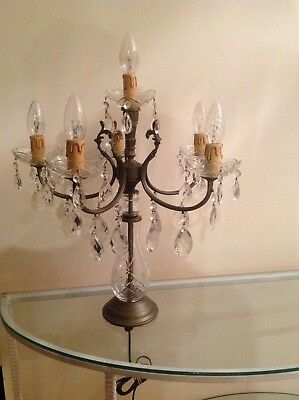 Vintage Crystal Chandelier Table Lamp French Style