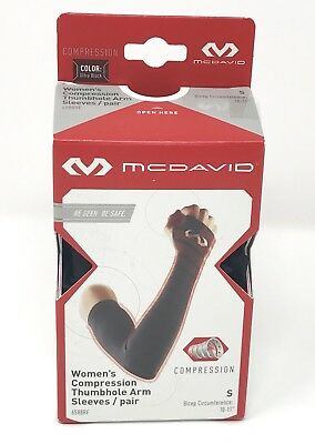 McDavid Women's Reflective Compression Thumbhole Arm Sleeves 6588RF/S/Blk/NIB!