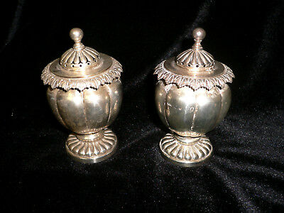 Dated1828 172g George IV Pair of Peppers, Small Condiment Pots with Pierced Lids