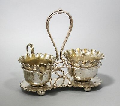 Antique silver plate pair sugar bowl milk jug/creamer fluted on stand