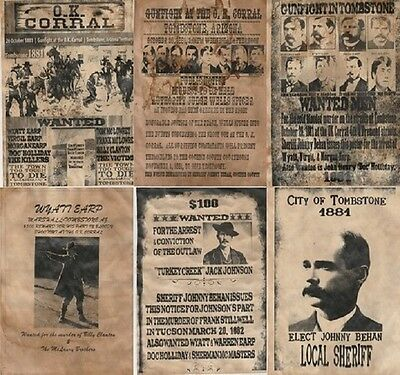 Set Of (6) Old West Wanted Posters Ok Corral Earp Doc Ringo Outlaw Cowboy Gun