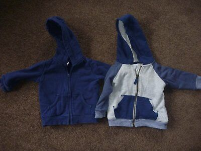 2 Baby Boys Hooded Zip-Up Jackets Jumpers Size 0