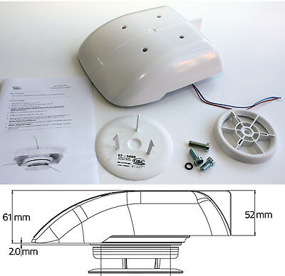 Small Low Profile Motorised Van Roof Vent compact extractor taxi dog vehicle Wht