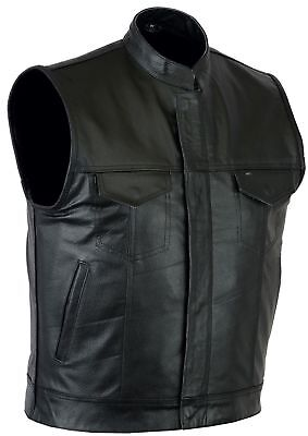 Mens Motorcycle Biker Sons of Anarchy genuine Leather Vest Free Shipping