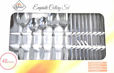 40 Piece Modern Kitchen Stainless Steel Cutlery Set Tableware Dining Utensils