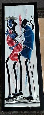 African folk art - painting of Masai warrior and wife - size 70 x 25 cm
