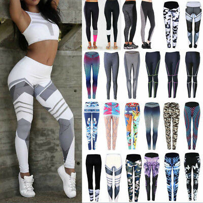 Women Yoga Pants Ladies Fitness Leggings Run Gym Exercise Sports Trouser UK K075