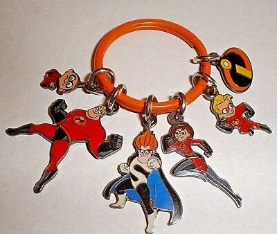 Rare Vintage Original Disney The Incredibles Enamel Charms Keyring Keychain