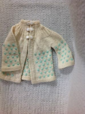 Vintage Baby Sweater Off White Blue 3 button