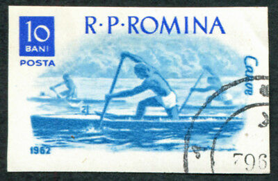 ROMANIA 1962 10b SG2926 used FG Boating and Sailing Canoe Race IMPERF a3