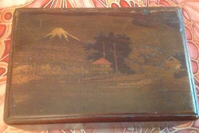Vintage Japanese Inlaid Wooden Puzzle Box,mount Fuji.