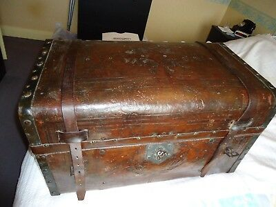Antique leather trunk, dark brown, good condition for age.
