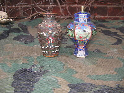 Two Small Chinese Cloisonne Vases - One Antique -One Vintage
