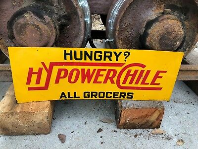 1920's HyPower Chile Embossed Tin Tacker Sign Kansas City MO BBQ Chili