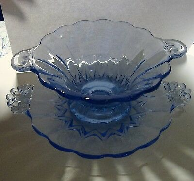 Old Vintage Antique Elegant Blue Glass Crystal Heavy Footed Compote with Plate