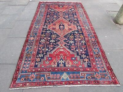 Old Hand Made Traditional Persian Rugs Oriental Wool Blue Long Rug 262x143cm