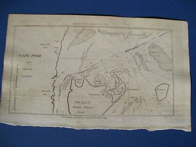 Original 1809 Chart of Cape Poge Martha's Vineyard American Coast Pilot Blunt