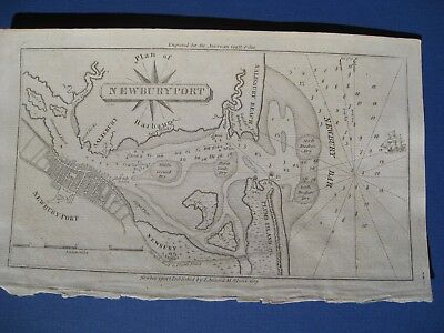Original 1809 Chart of Newburyport Harbor MA Amerrican Coast Pilot Edmund Blunt