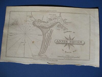 Original 1809 Chart of Annisquam Harbor in Ipswich Bay MA American Coast Pilot