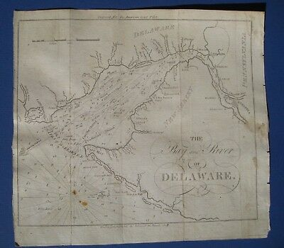 Original 1809 Chart of Delaware Bay and River American Coast Pilot Blunt