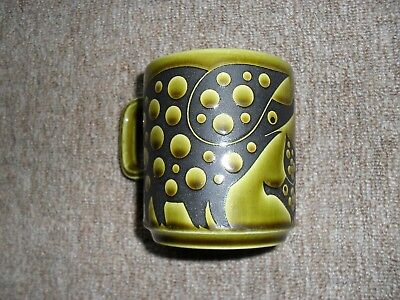 Hornsea Green Mug With Pig Design. ( See Description With Faults ).