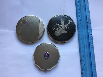 3 x Vintage Sterling Silver Compacts Military / Niello / Art Deco / No Reserve