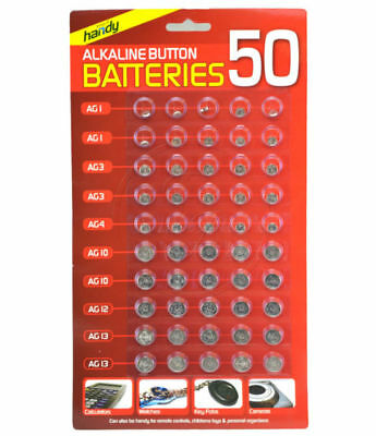 50 Assorted Button Cell Watch Battery Batteries Ag 1 / 3 / 4 / 10 / 12 / 13