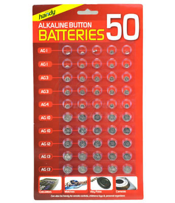 50 Assorted Mixed Alkaline Button Cell Batteries 377 AG1 AG3 AG4 AG10 AG12 AG13