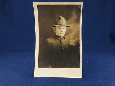 RPPC WWI US Army Soldier Uniform Campaign Hat Studio Portrait