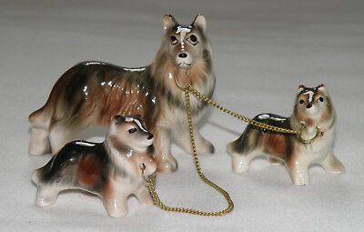 Vintage Relco Ceramic Collie Family With Chains