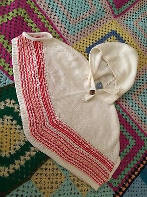 Baby Gap Girls 18-24 Months Poncho Red Beige Pink EUC