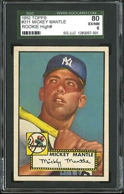 1952 Topps Mickey Mantle Rookie card #311 SGC 80 EX-NM 6 (READ DESCRIPTION)