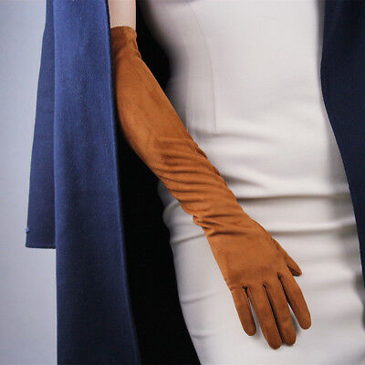 """Opera Long Gloves  Chocolate Faux Leather Opera Evening Elbow brown 19/"""" 50cm"""